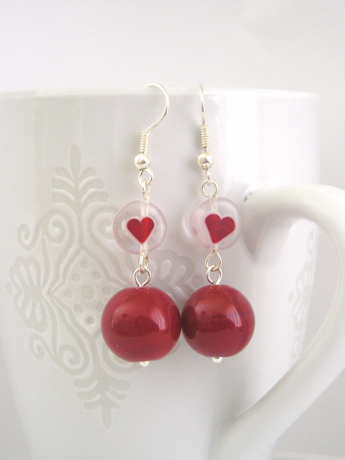 Red lampwork beads and red heart murano glass beads by Lbtoyos from etsy.com