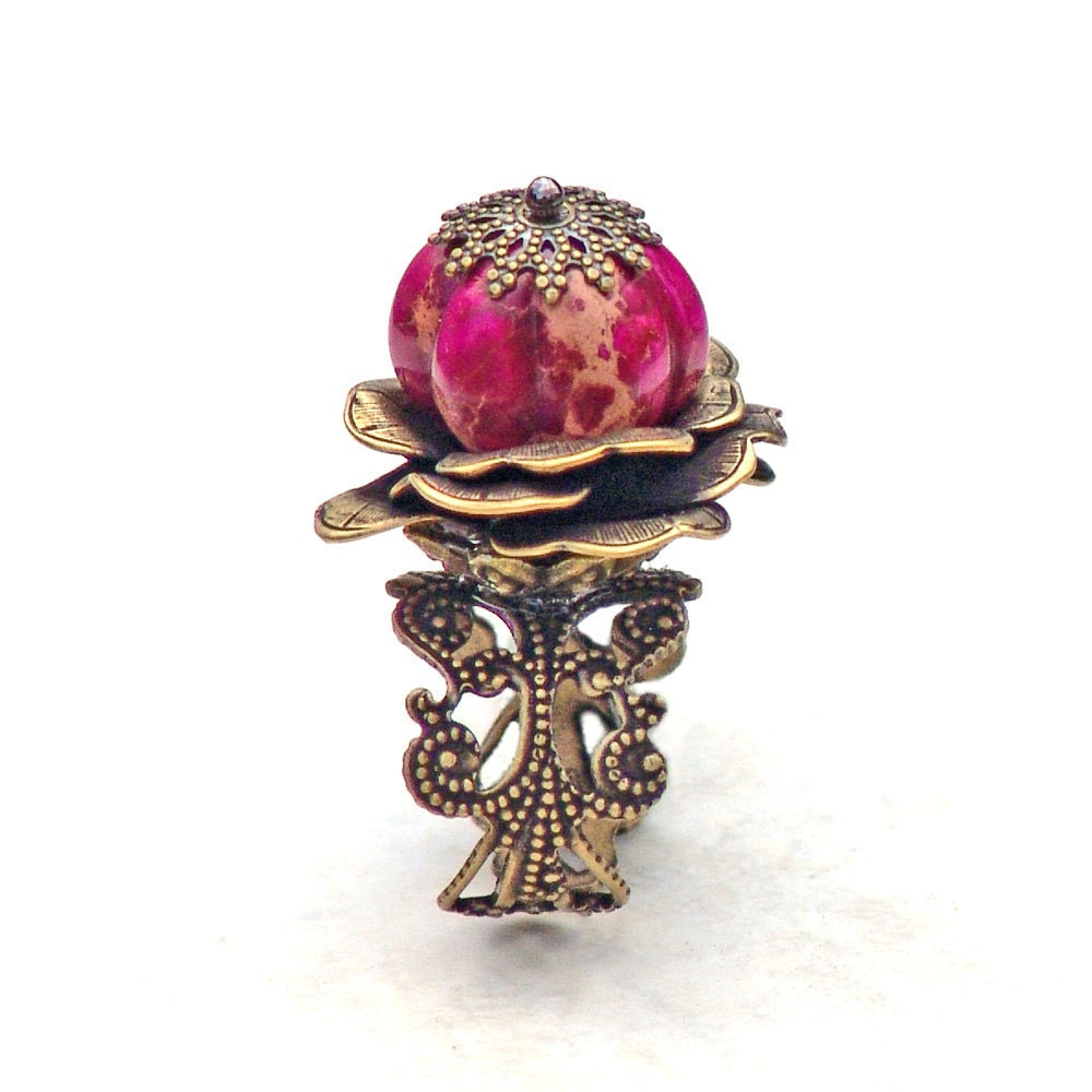 Pink Pumpkin Patch Cocktail Ring Gemstone by Catherine Jeltes as galleryzooartdesigns on Etsy from etsy.com