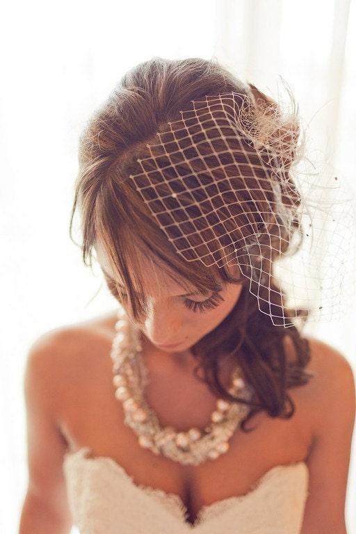 Liz Birdcage Half Veil with Swarovski Crystals