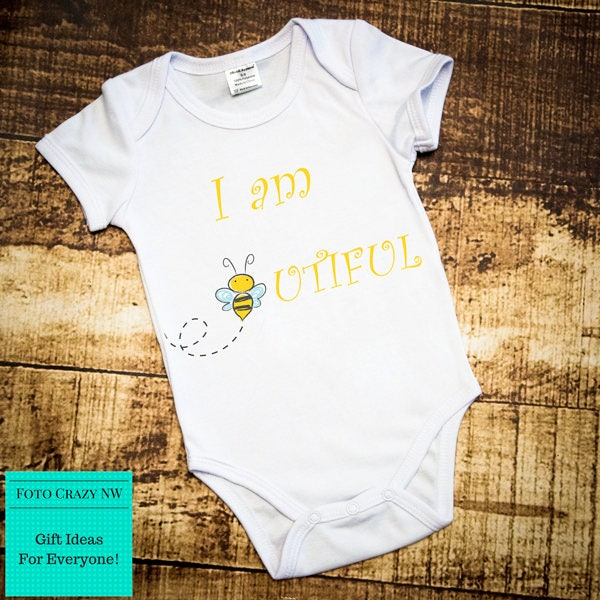 Baby Grow  Im Beeutiful  Baby Vest  Baby Clothes  Bee Gifts  Christening Present  New Baby  Gift Idea