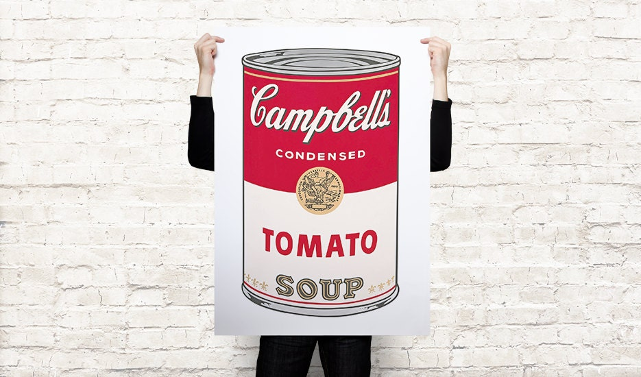 Andy warhol campbell 39 s tomato soup canvas paper art di for Barattoli di zuppa campbell s