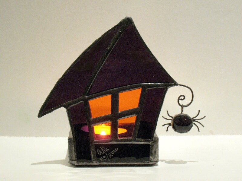 Halloween Candle Holder Spooky Haunted House Stained Glass Votive Purple Orange 1 Handmade OOAK