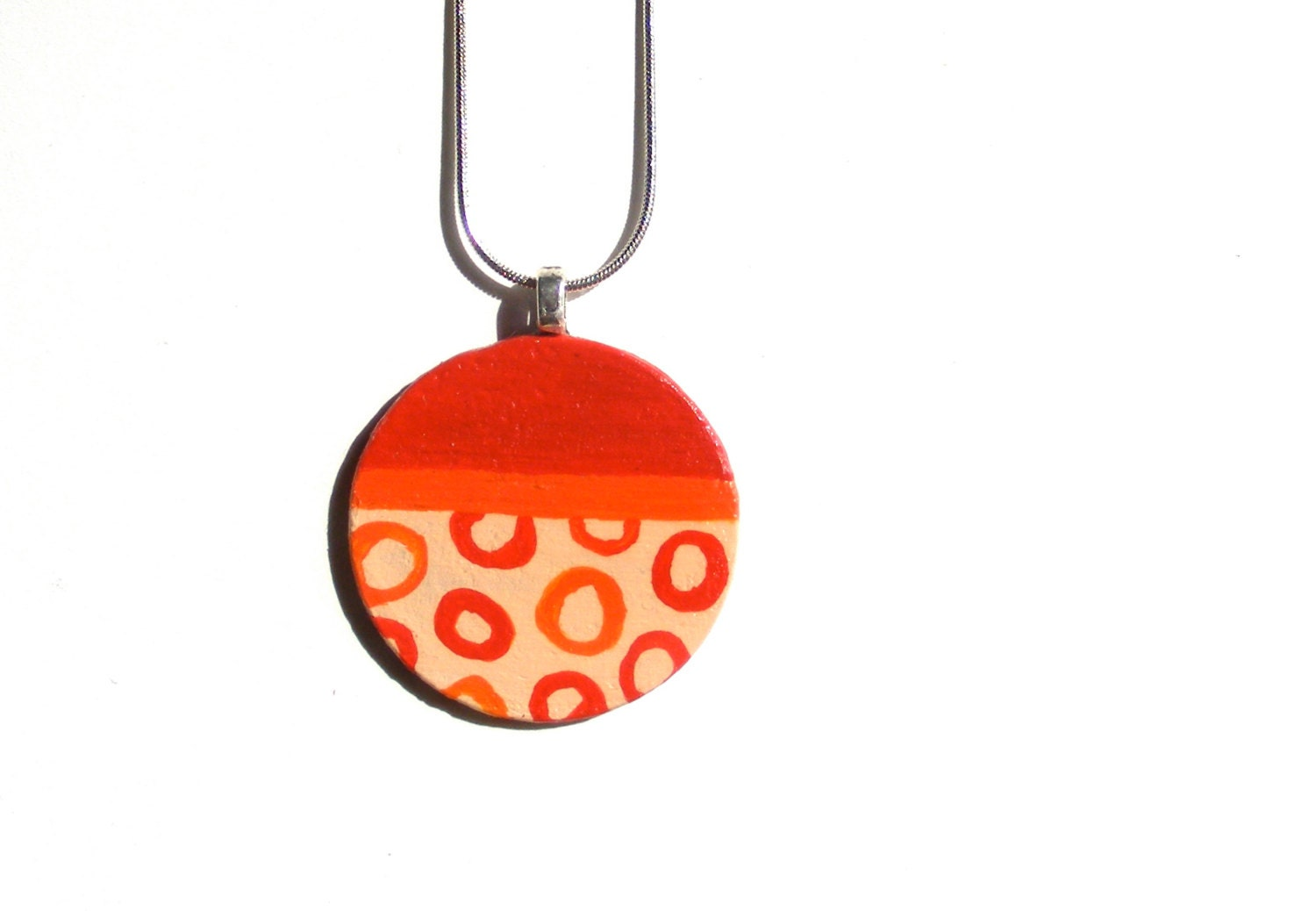 Geometric Abstract. Red. Orange. Peach Hand Painted Wooden Pendant. OOAK. 18 inch Chain. UV protected. Handmade by Calico City - calicocity
