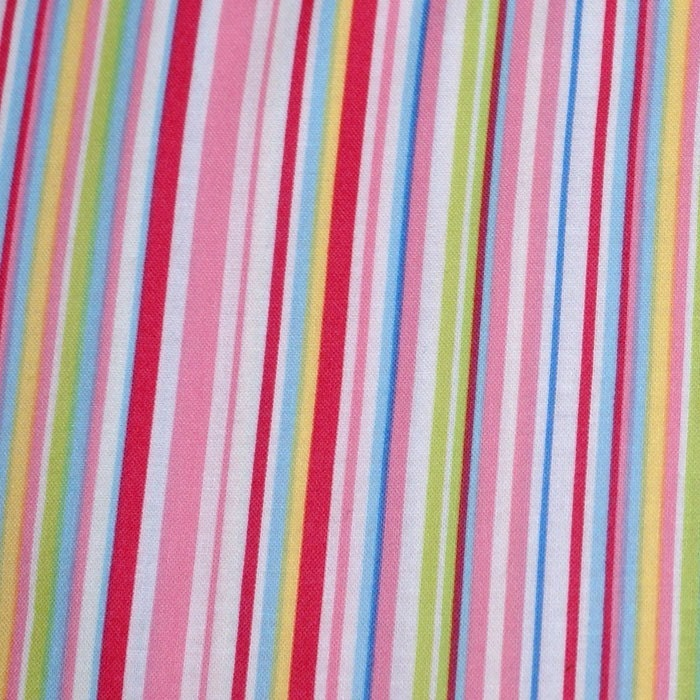 JANE ST Pink Pastel Stripe Fabric 1 yd