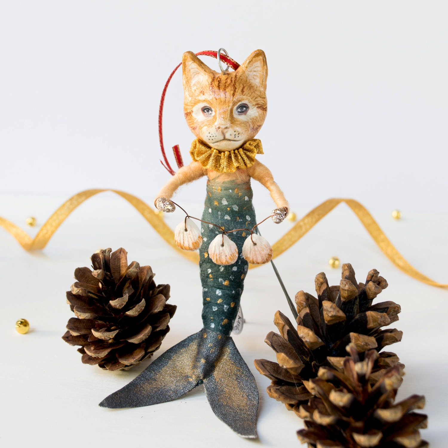 Handmade ginger mermaid cat art doll. Spun cotton hanging ornament. Cat lover gift. Timeless treasure. Valentines gift. Birthday gift.