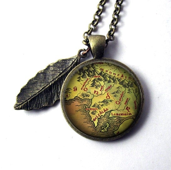 lotr map pendant of gondor lord of the by mithrilandmathoms