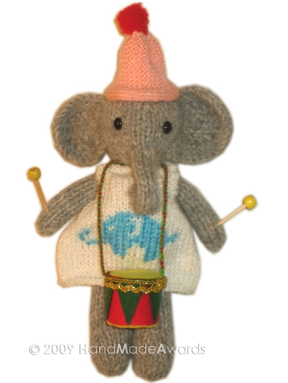 LOVELY ELEPHANT with DRUM  POCKET FRIEND KNIT PATTERN pdf EMAIL BY HandMadeAwards
