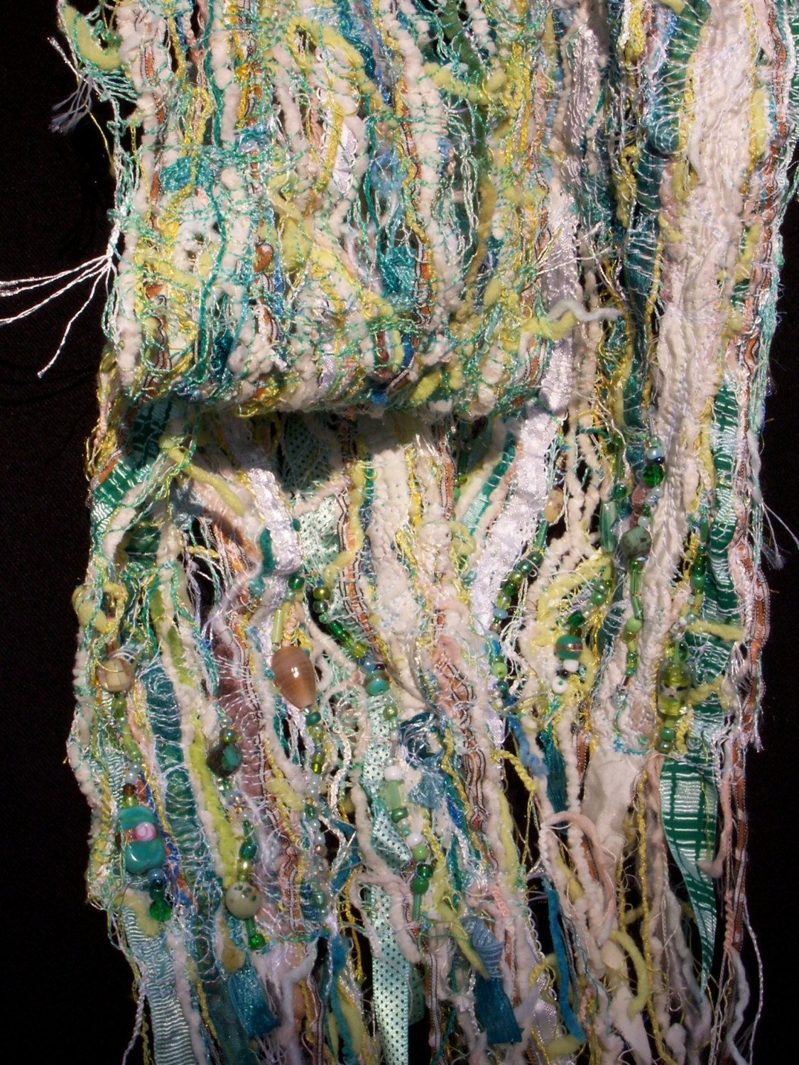Sea Side Cottage X-Stream Fibers Quilted Fashion Scarf, cotton, ribbons, wool, and glass beads in aqua.