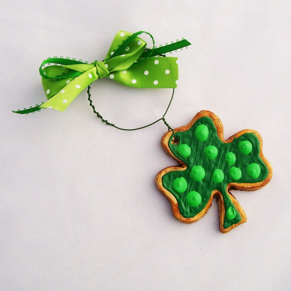 Lucky Clover Ornament Royal Iced Sugar Cookie Paper Clay