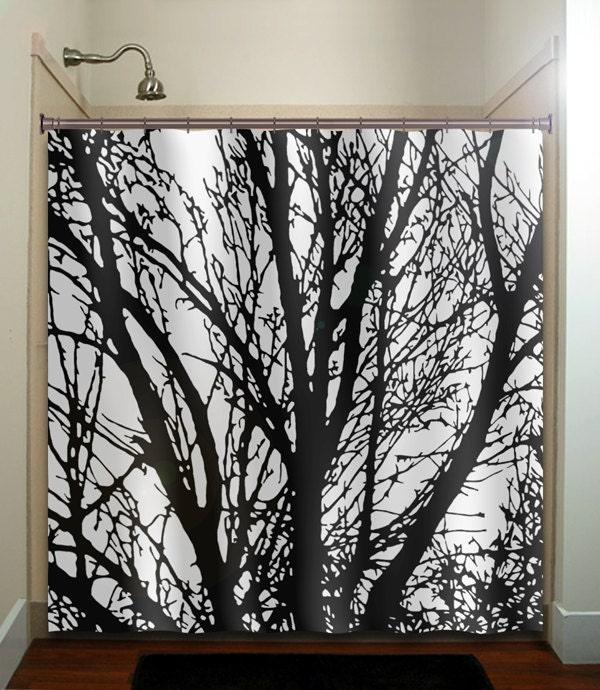 Shower curtain bathroom decor fabric kids bath white black custom