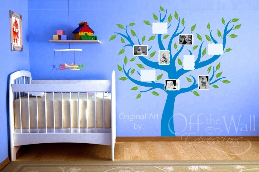 Family Tree with photos and leaves, vinyl decal