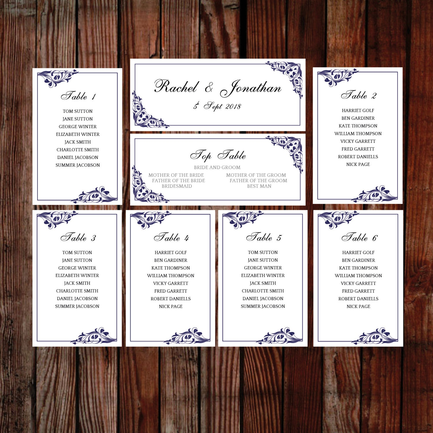Wedding seating chart (Flora) blue DOWNLOAD PRINTABLE Microsoft word table plan  printable seating chart design