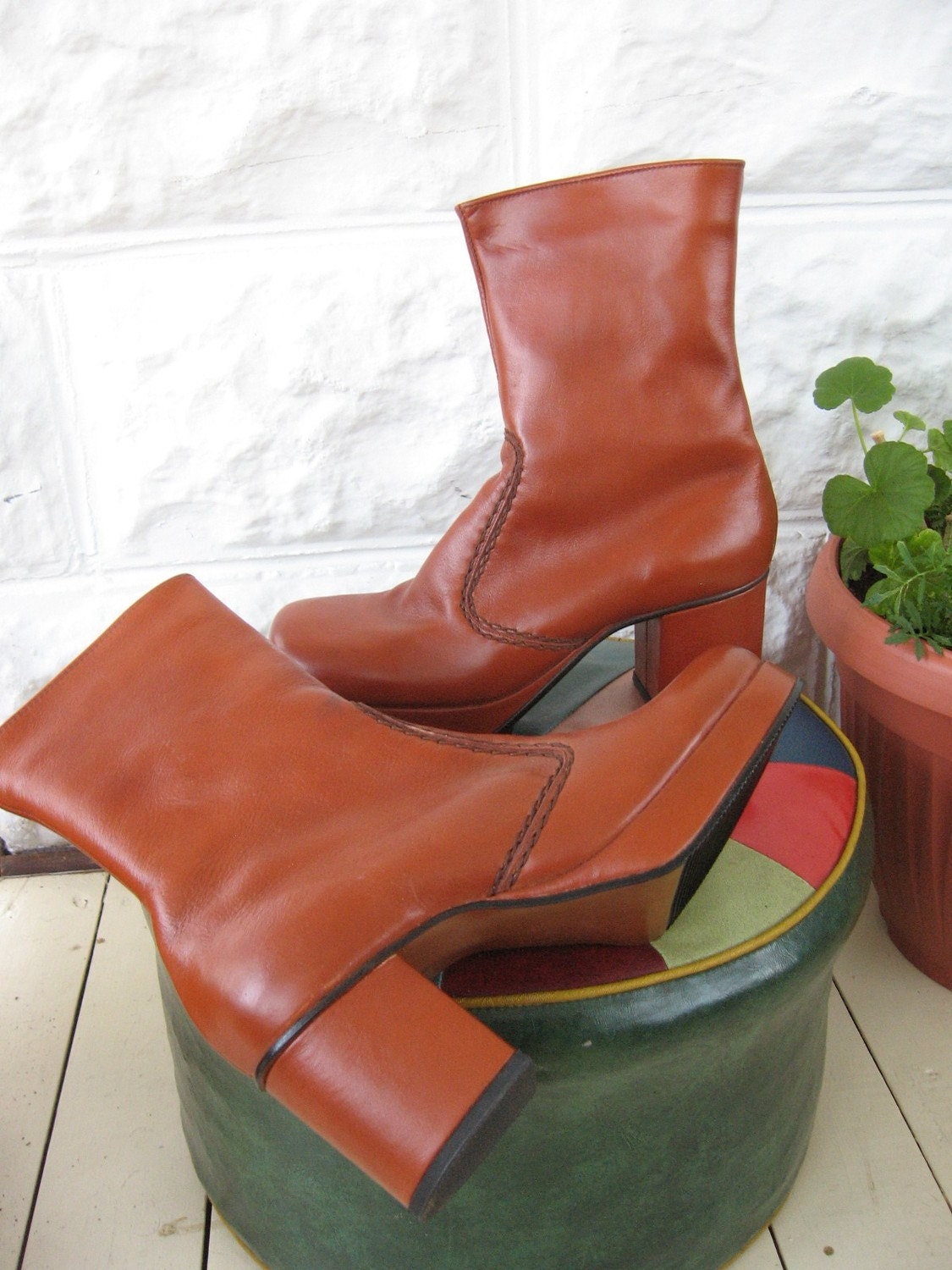 Men S Vintage Disco 70 S Leather Platform Boots 8 By