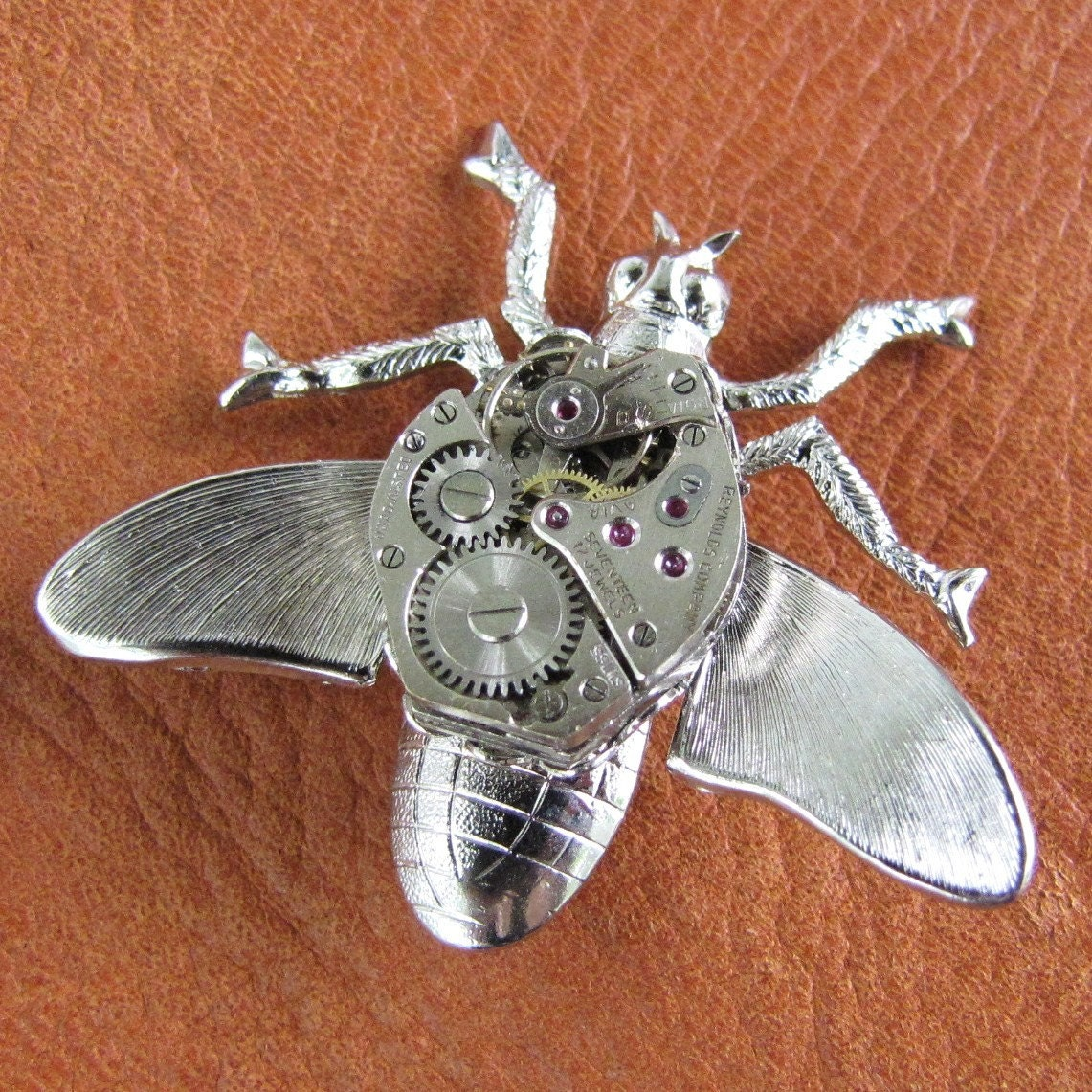 Steampunk Insect - Flying Silver Wasp Pin with Antique Watch Movement