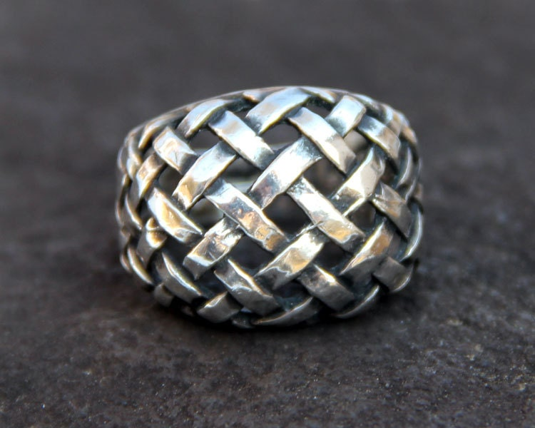 sterling silver ring woven dome braided by albrechtsantiques