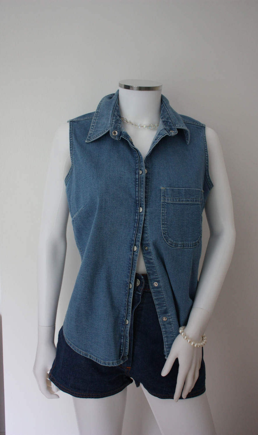 Denim tunic sleeveless denim shirt 90s grunge denim waistcoat festival clothes indie clothes country and western style clothes
