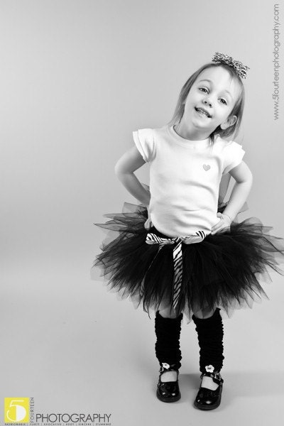 BLACK PIXIE  tutu w/zebra print accents...Headband with flower clip included......PERFECT for photos, dance, weddings