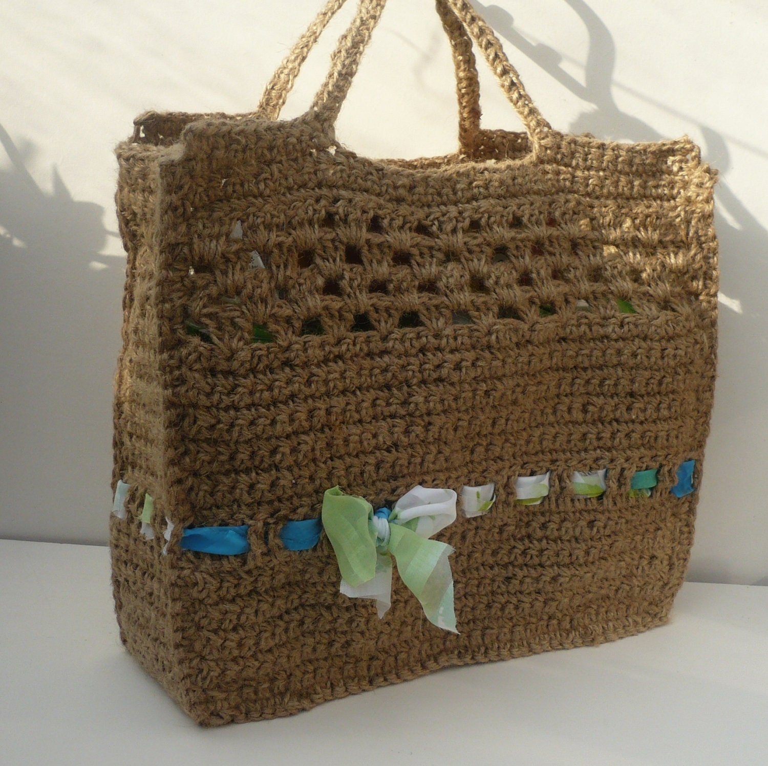 Crochet Jute Tote Shopping Bag with upcylced by ...