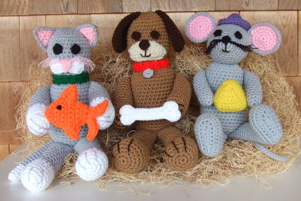 Crochet Pattern Cat Dog and Mouse Whimsical Pets