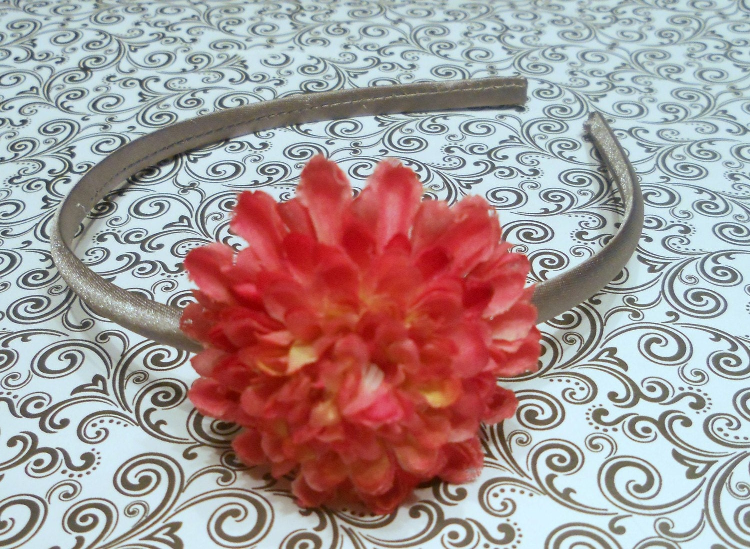 Pretty Silver Satin Headband With Pink Flower