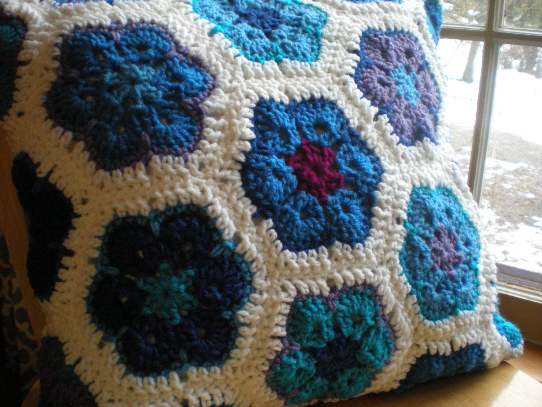 African Flower Pillow Cover - Blue Multi - crochetforeveryone