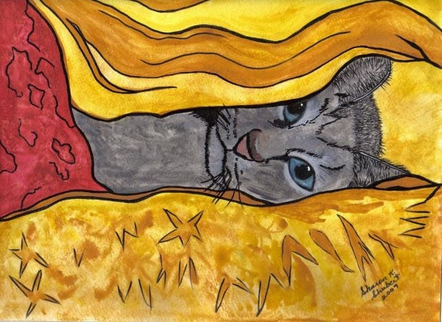 Cat In My Bed Watercolor and Ink Giclee Print 8 x 10
