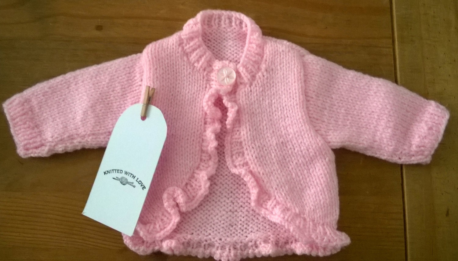 Premature Babies Bolero Cardigan with Frill Edging in Pink 12 chest