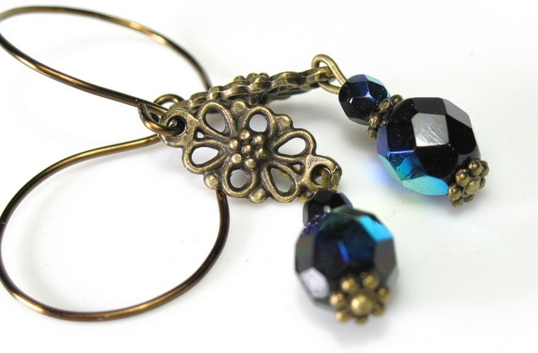 Vintage Style Sapphire Blue and Brass Earrings
