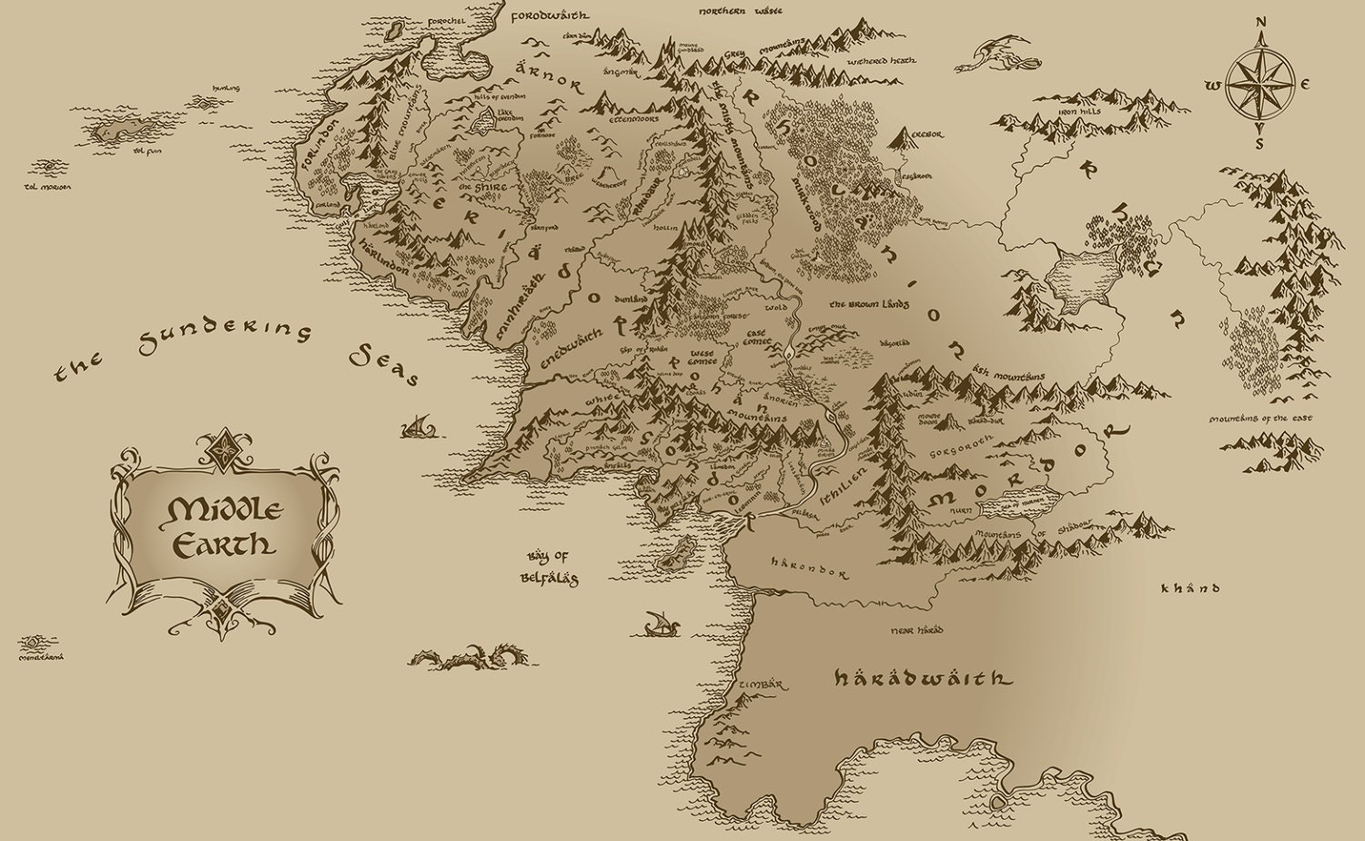 1 Yard Of Large Repeating Middle Earth Map Cotton By