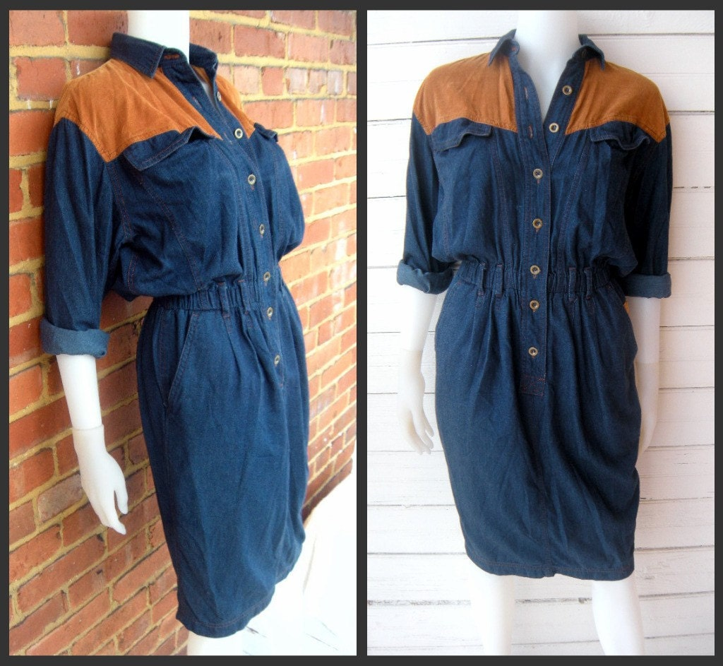 Vintage 80s DENIM and CORDUROY Liz Claiborne Dress