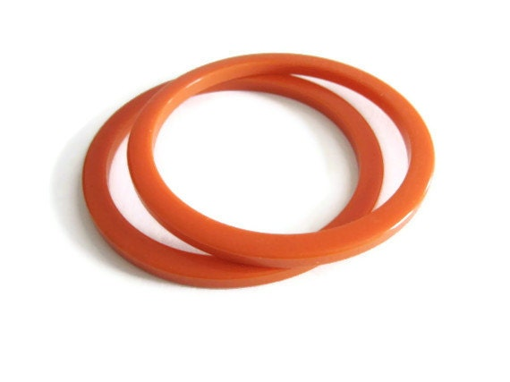 2 Bakelite Bangles Melon Orange - MyVictorianCottage