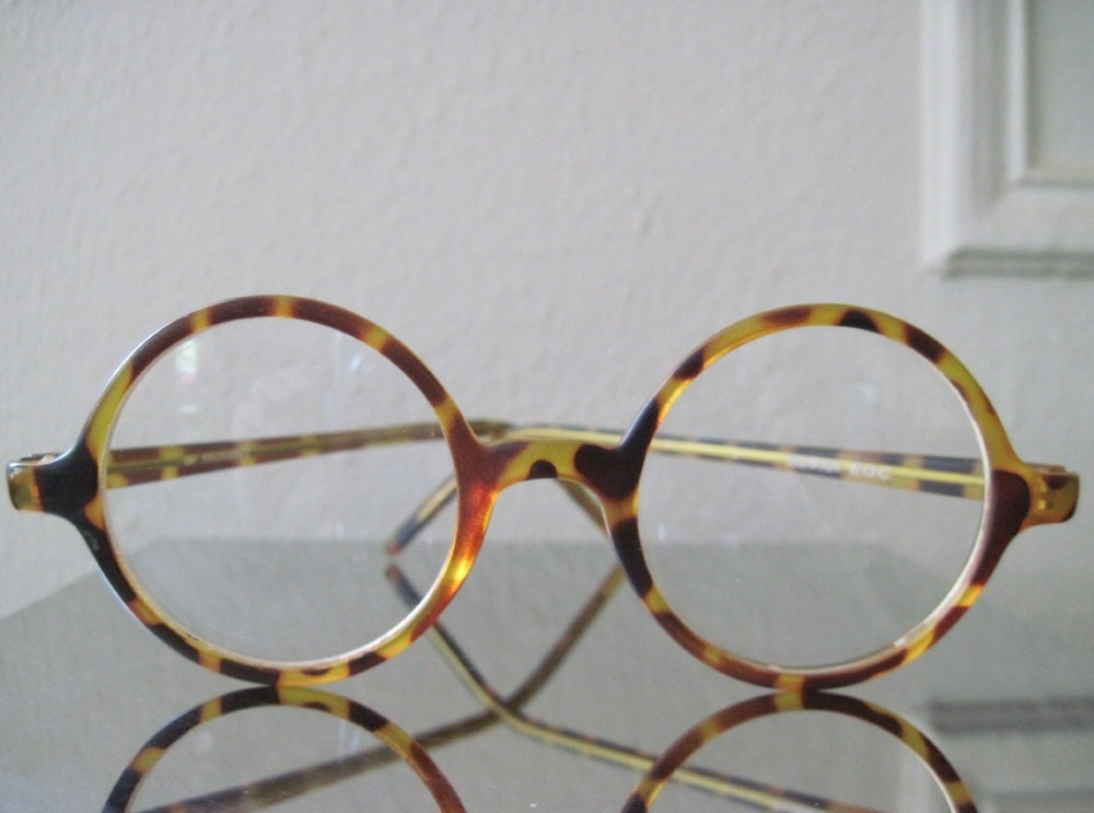 Vintage Tortoise Shell Eyeglass Frames : vintage 1970s ROUND Tortoise Shell Eyeglass Frames by ...