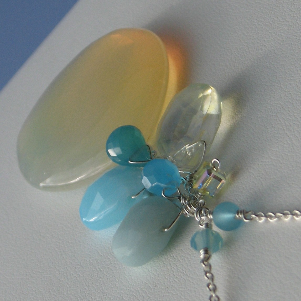 Beach Beauty, Sea Blue Chalcedony, Lemon Quartz, Swarovski Crystals, Teal Freshwater Pearls, Sterling Silver Necklace