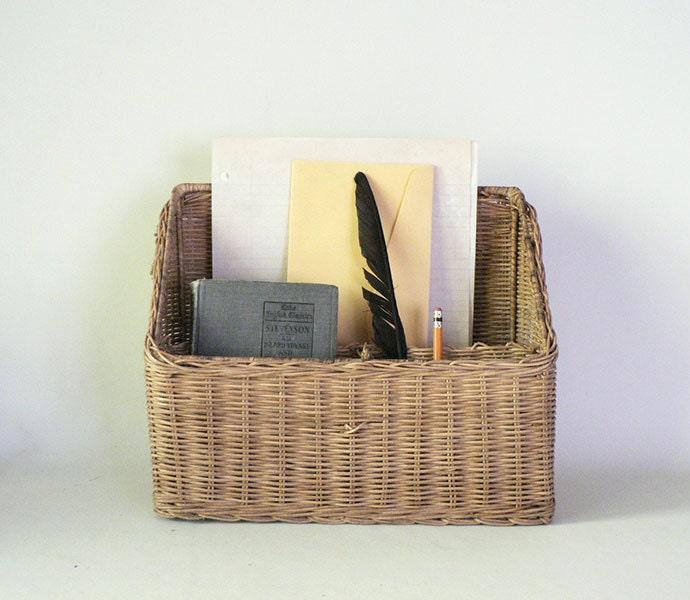 Vintage wicker desk top divided file organizer basket by etsplace - Divided wicker basket ...