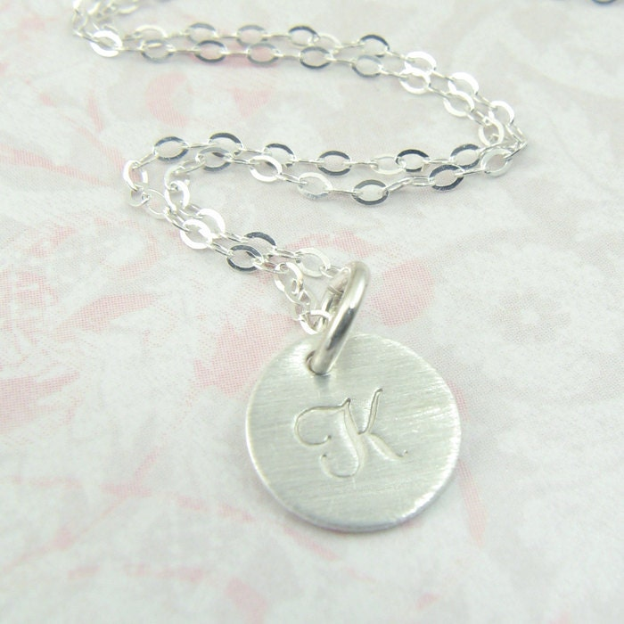 initial pendant circle necklace sterling by prolifiquejewelry