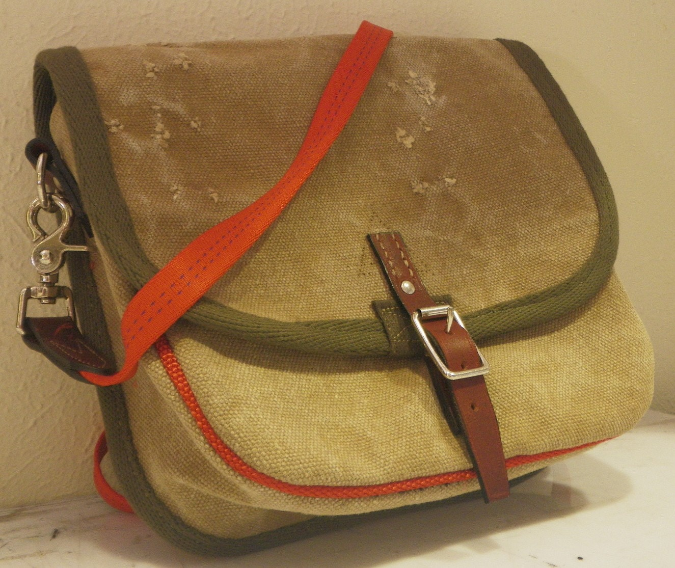 Military Canvas Purse with Hand Stitched Buckle Closure