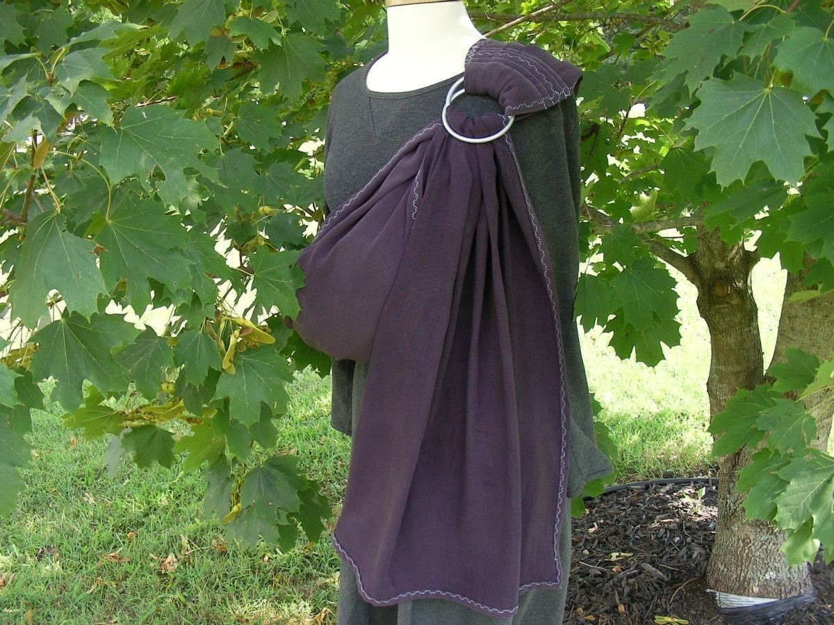 NEW - Eggplant - Deliciously soft Tencel Twill Ring Sling Baby Carrier - instructional DVD