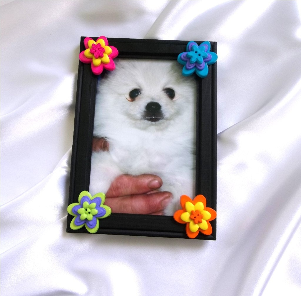 "Black Button Picture Frame 4"" X 6"" Ready To Ship - Flowers, Orange, Purple, Yellow, Green, Blue"