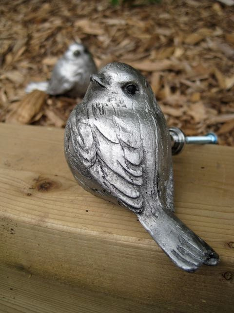SALE Big Drawer Knob Silver Sparrow made of Resin (RK01)