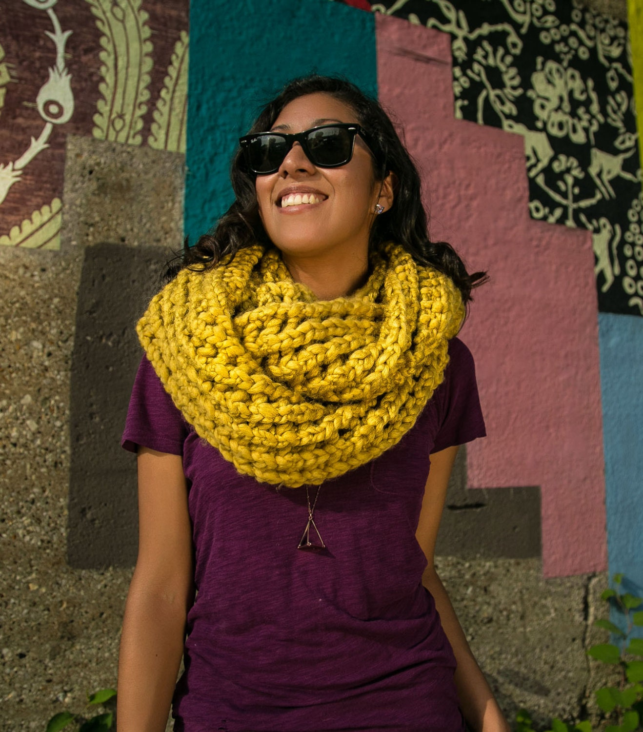 Double Wrap Chunky Cowl Scarf - Mustard Yellow - HighHopeKnits