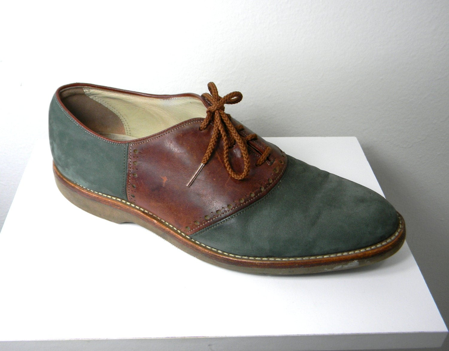 teal suede vintage s oxford saddle shoes by