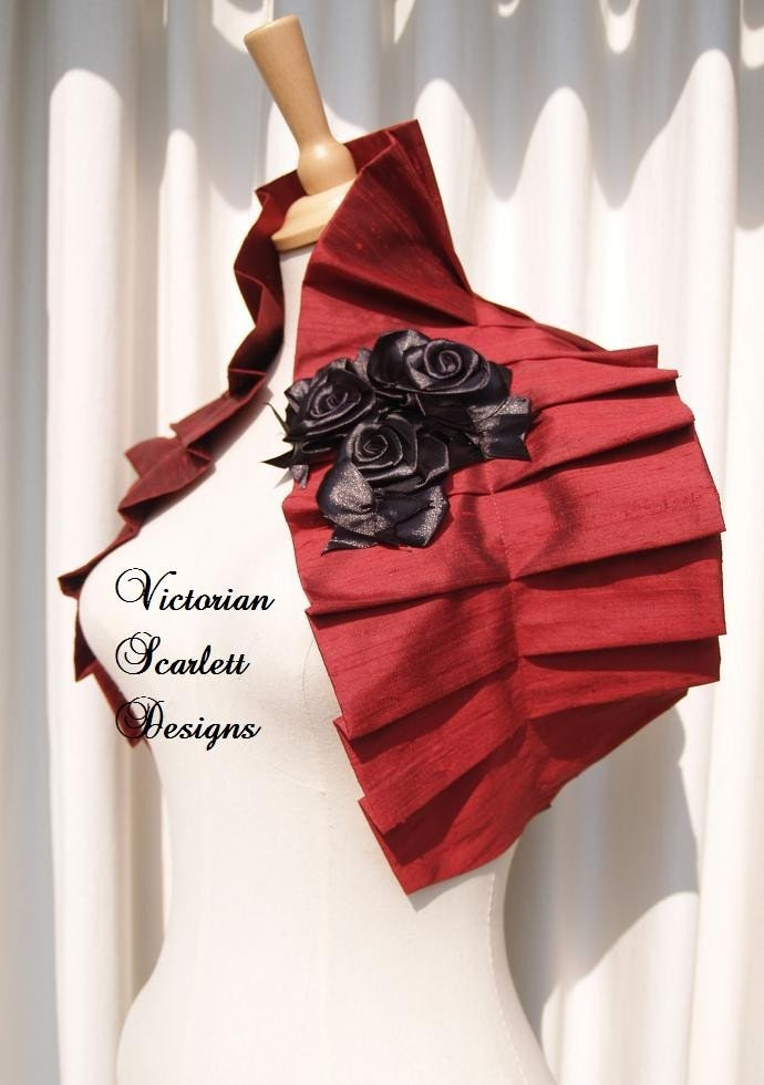 SALE Victorian gothic red silk couture shrug shoulder wrap black roses made to order