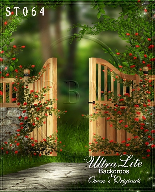 Photography Backdrop Spring Garden Gate By Owensbackdrops On Etsy