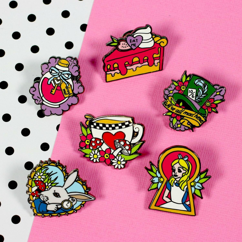 Alice Enamel Pin Set  Alice in Wonderland lapel pins hard enamel pin