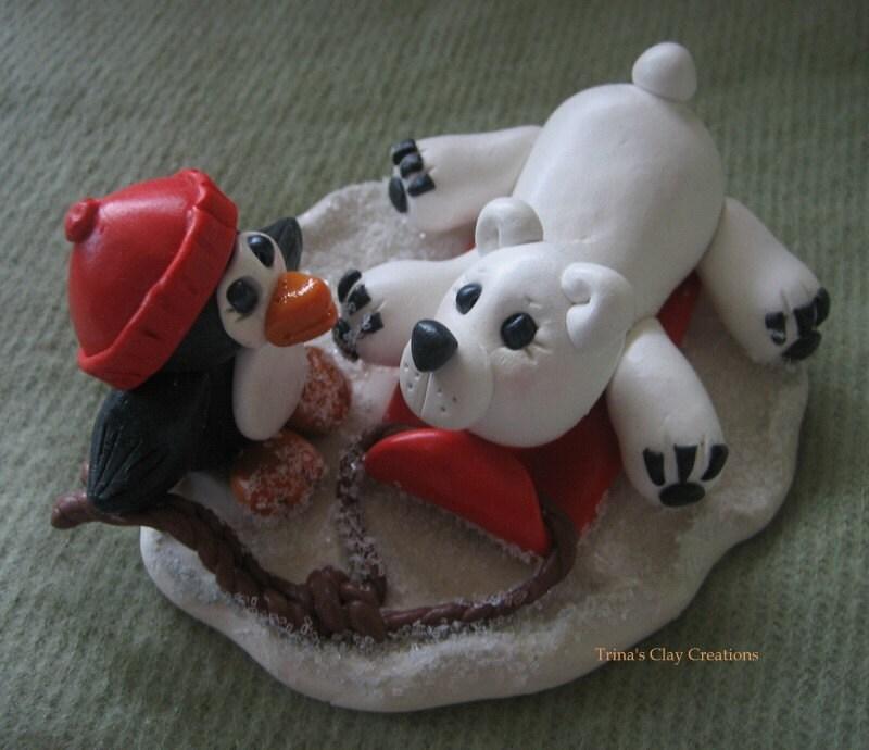 Penguin With Bear on Toboggan