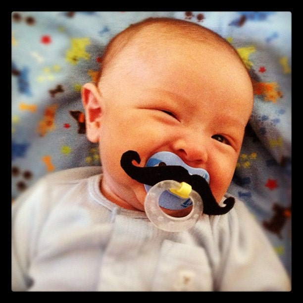 Mustache Pacifier - Black Handlebar