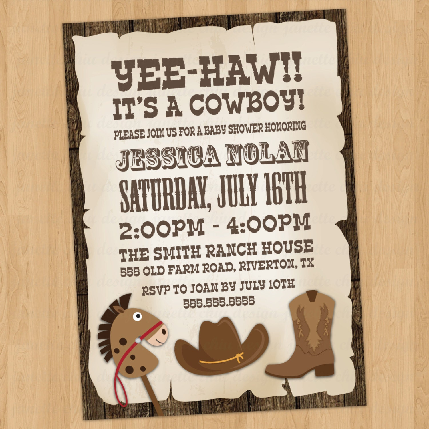Cowboy Baby Shower Invitation Digital Printable, ANY color ANY wording: www.etsy.com/listing/153702145/cowboy-baby-shower-invitation-digital