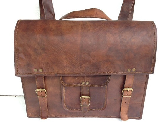 "SALE: 16 "" leather Backpack bag School/College Handmade leather messenger bag/shoulder bag/satchel - leatherpassionkomal"