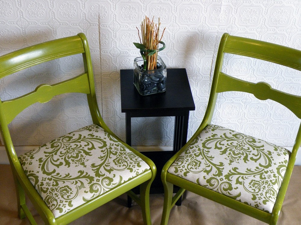 Pair of Olive Green Damask Print Shabby Chic Refinished Wood Chairs