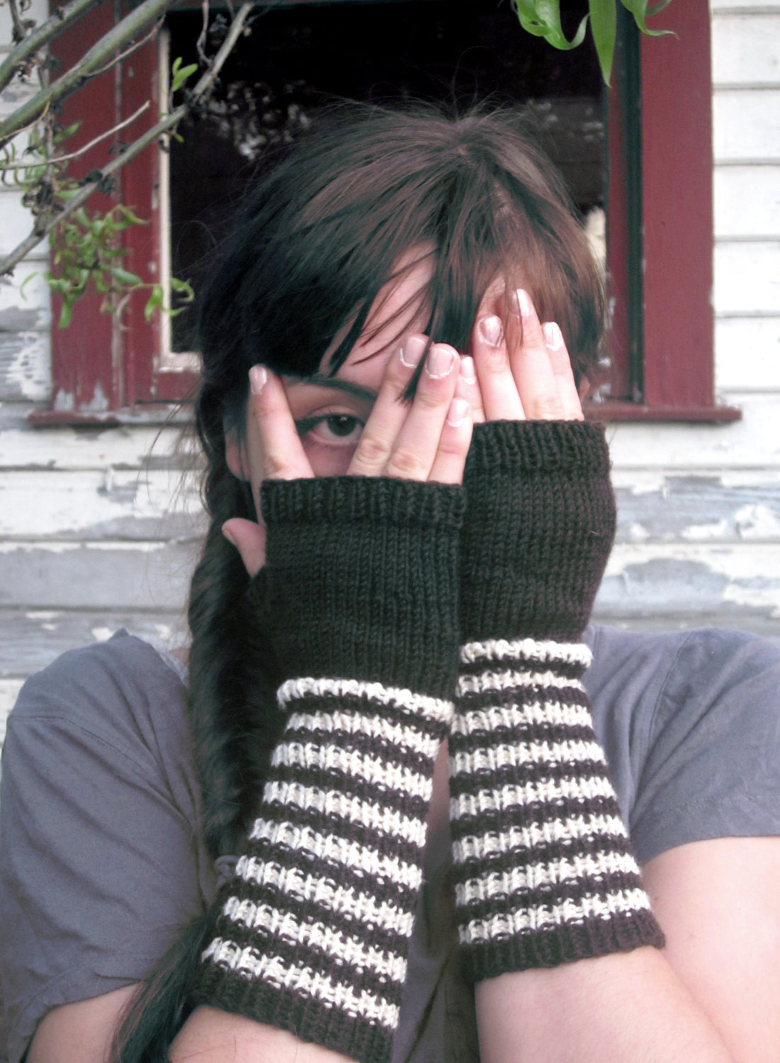 College Ruled Fingerless Gloves/Arm Warmers
